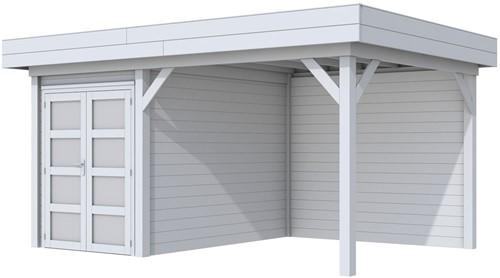 Blokhut Zwaluw met luifel 300, afm. 493 x 303 cm, plat dak,  houtdikte 28 mm. - volledig grijs gespoten