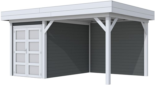 Blokhut Zwaluw met luifel 300, afm. 493 x 303 cm, plat dak,  houtdikte 28 mm. - basis en deur grijs, wand antraciet gespoten