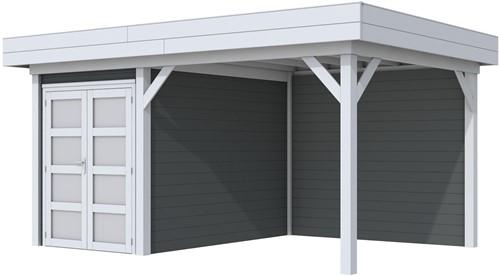Blokhut Zwaluw met luifel 400, afm. 586 x 303 cm, plat dak, houtdikte 28 mm,  - basis en deur grijs, wand antraciet gespoten