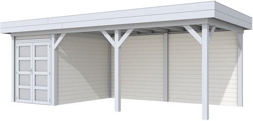 Blokhut Zwaluw met luifel 500, afm. 684 x 303 cm, plat dak, houtdikte 28 mm. - basis en deur grijs, wand wit gespoten