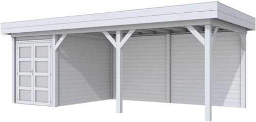 Blokhut Zwaluw met luifel 500, afm. 684 x 303 cm, plat dak, houtdikte 28 mm. - volledig grijs gespoten