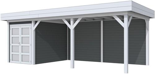 Blokhut Zwaluw met luifel 500, afm. 684 x 303 cm, plat dak, houtdikte 28 mm. - basis en deur grijs, wand antraciet gespoten