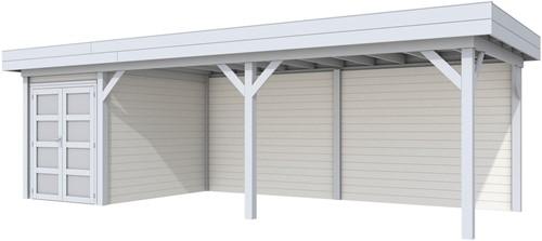Blokhut Zwaluw met luifel 600, afm. 784 x 303 cm, plat dak, houtdikte 28 mm. - basis en deur grijs, wand wit gespoten