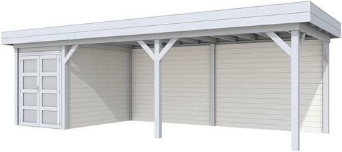 Blokhut Zwaluw met luifel 600, afm. 800 x 300 cm, plat dak, houtdikte 28 mm. - basis en deur grijs, wand wit gespoten
