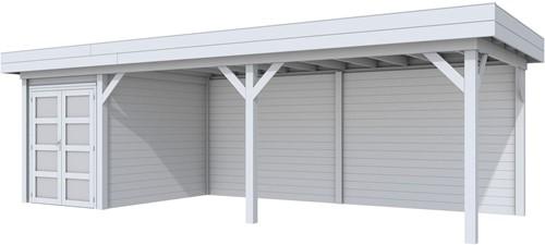Blokhut Zwaluw met luifel 600, afm. 784 x 303 cm, plat dak, houtdikte 28 mm. - volledig grijs gespoten