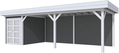 Blokhut Zwaluw met luifel 600, afm. 784 x 303 cm, plat dak, houtdikte 28 mm. - basis en deur grijs, wand antraciet gespoten