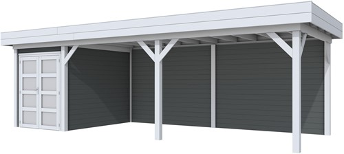 Blokhut Zwaluw met luifel 600, afm. 800 x 300 cm, plat dak, houtdikte 28 mm. - basis en deur grijs, wand antraciet gespoten