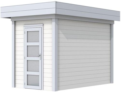 Blokhut Kiekendief, afm. 203 x 303 cm. plat dak, houtdikte 28 mm. - basis en deur grijs, wand wit gespoten