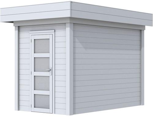 Blokhut Kiekendief, afm. 203 x 303 cm. plat dak, houtdikte 28 mm. - volledig grijs gespoten