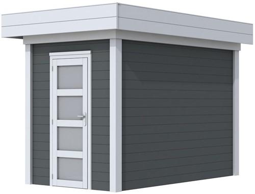 Blokhut Kiekendief, afm. 203 x 303 cm. plat dak, houtdikte 28 mm. - basis en deur grijs, wand antraciet gespoten