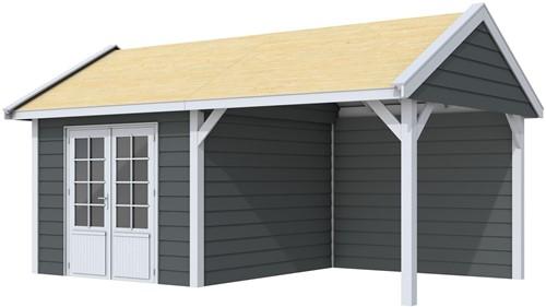 Blokhut Poolvos met luifel 300, afm. 600 x 300 cm, zadeldak, houtdikte 28 mm. - basis en deur grijs, wand antraciet gespoten