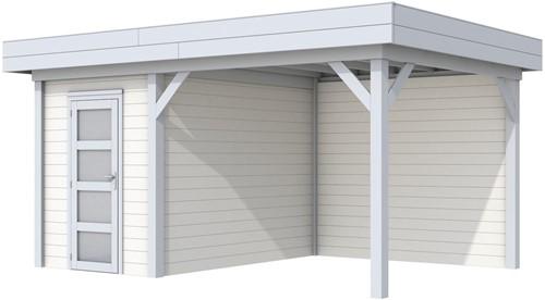 Blokhut Kiekendief met luifel 300, afm. 493 x 303 cm, plat dak, houtdikte 28 mm. - basis en deur grijs, wand wit gespoten