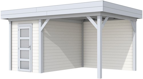 Blokhut Kiekendief met luifel 400, afm. 586 x 303 cm, plat dak, houtdikte 28 mm. - basis en deur grijs, wand wit gespoten