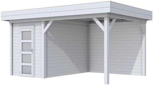 Blokhut Kiekendief met luifel 300, afm. 493 x 303 cm, plat dak, houtdikte 28 mm. - volledig grijs gespoten