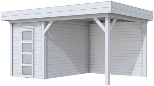 Blokhut Kiekendief met luifel 400, afm. 586 x 303 cm, plat dak, houtdikte 28 mm. - volledig grijs gespoten