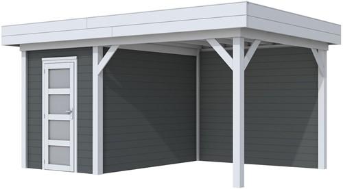 Blokhut Kiekendief met luifel 300, afm. 493 x 303 cm, plat dak, houtdikte 28 mm. - basis en deur grijs, wand antraciet gespoten