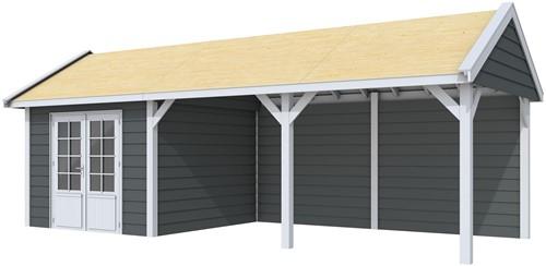 Blokhut Poolvos met luifel 500, afm. 787 x 303 cm, zadeldak, houtdikte 28 mm. - basis en deur grijs, wand antraciet gespoten
