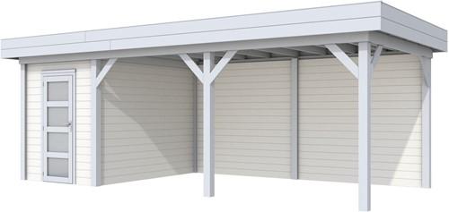 Blokhut Kiekendief met luifel 500, afm. 684 x 303 cm, plat dak, houtdikte 28 mm. - basis en deur grijs, wand wit gespoten