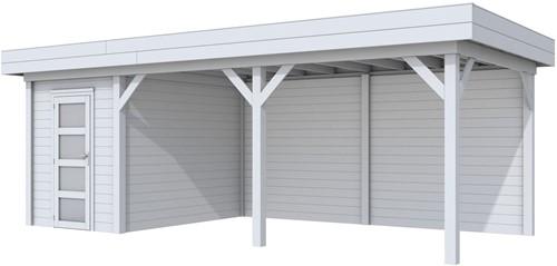 Blokhut Kiekendief met luifel 500, afm. 684 x 303 cm, plat dak, houtdikte 28 mm. - volledig grijs gespoten