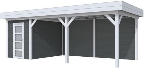 Blokhut Kiekendief met luifel 500, afm. 684 x 303 cm, plat dak, houtdikte 28 mm. - basis en deur grijs, wand antraciet gespoten