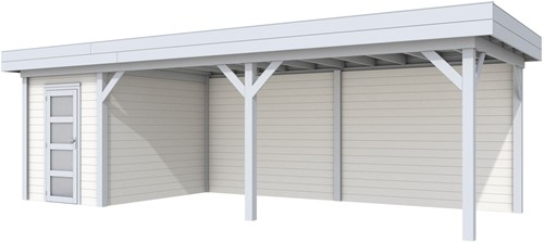 Blokhut Kiekendief met luifel 600, afm. 784 x 303 cm, plat dak, houtdikte 28 mm. - basis en deur grijs, wand wit gespoten