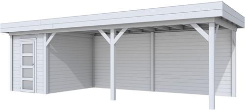 Blokhut Kiekendief met luifel 600, afm. 784 x 303 cm, plat dak, houtdikte 28 mm. - volledig grijs gespoten