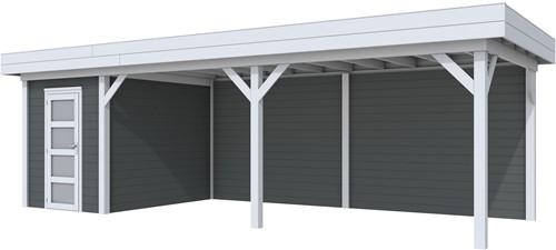 Blokhut Kiekendief met luifel 600, afm. 784 x 303 cm, plat dak, houtdikte 28 mm. - basis en deur grijs, wand antraciet gespoten