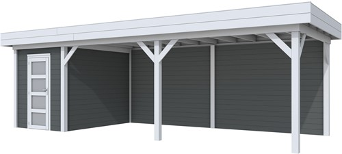 Blokhut Kiekendief met luifel 600, afm. 800 x 300 cm, plat dak, houtdikte 28 mm. - basis en deur grijs, wand antraciet gespoten