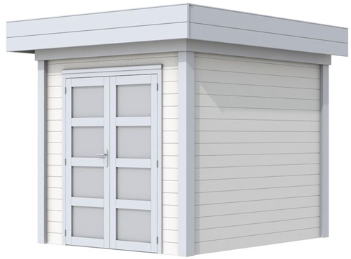 Blokhut Kolibri, afm. 250 x 250 cm, plat dak, houtdikte 28 mm. - basis en deur grijs, wand wit gespoten
