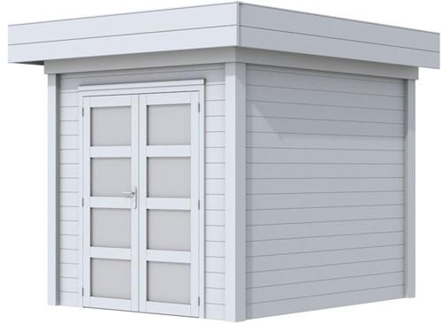 Blokhut Kolibri, afm. 250 x 250 cm, plat dak, houtdikte 28 mm. - volledig grijs gespoten