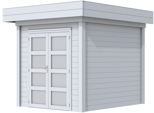 Blokhut Kolibri, afm. 253 x 253 cm, plat dak, houtdikte 28 mm. - volledig grijs gespoten