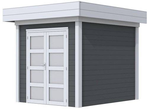 Blokhut Kolibri, afm. 253 x 253 cm, plat dak, houtdikte 28 mm. - basis en deur grijs, wand antraciet gespoten