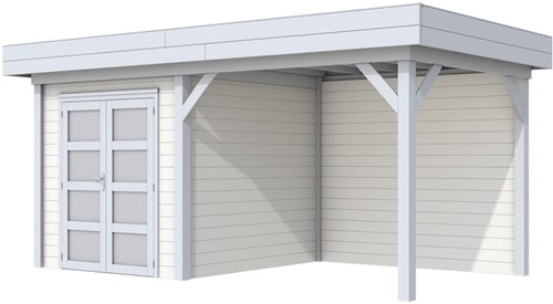 Blokhut Kolibri met luifel 400, afm. 650 x 250 cm, plat dak, houtdikte 28 mm. - basis en deur grijs, wand wit gespoten