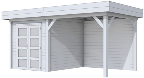 Blokhut Kolibri met luifel 300, afm. 543 x 253 cm, plat dak, houtdikte 28 mm. - volledig grijs gespoten