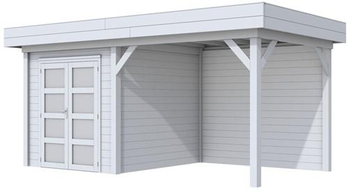 Blokhut Kolibri met luifel 400, afm. 650 x 250 cm, plat dak, houtdikte 28 mm. - volledig grijs gespoten