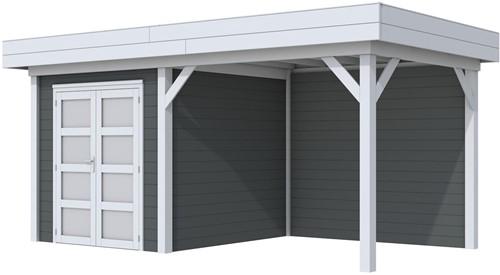 Blokhut Kolibri met luifel 300, afm. 543 x 253 cm, plat dak, houtdikte 28 mm. - basis en deur grijs, wand antraciet gespoten