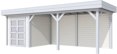 Blokhut Kolibri met luifel 500, afm. 734 x 253 cm, plat dak, houtdikte 28 mm. - basis en deur grijs, wand wit gespoten