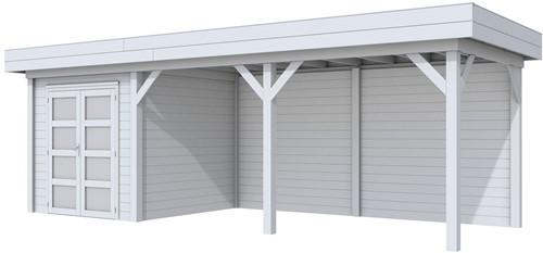 Blokhut Kolibri met luifel 500, afm. 750 x 250 cm, plat dak, houtdikte 28 mm. - volledig grijs gespoten