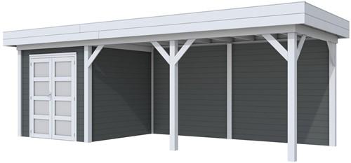 Blokhut Kolibri met luifel 500, afm. 734 x 253 cm, plat dak, houtdikte 28 mm. - basis en deur grijs, wand antraciet gespoten