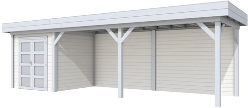 Blokhut Kolibri met luifel 600, afm. 834 x 253 cm, plat dak, houtdikte 28 mm. - basis en deur grijs, wand wit gespoten