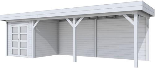Blokhut Kolibri met luifel 600, afm. 834 x 253 cm, plat dak, houtdikte 28 mm. - volledig grijs gespoten