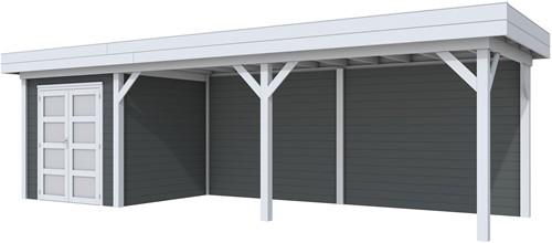 Blokhut Kolibri met luifel 600, afm. 834 x 253 cm, plat dak, houtdikte 28 mm. - basis en deur grijs, wand antraciet gespoten