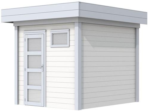 Blokhut Kuifmees, afm. 253 x 253 cm, plat dak, houtdikte 28 mm - basis en deur grijs, wand wit gespoten