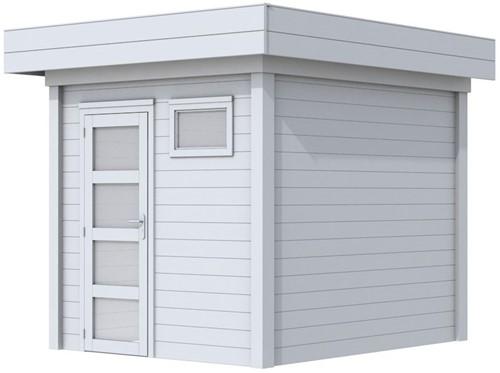 Blokhut Kuifmees, afm. 253 x 253 cm, plat dak, houtdikte 28 mm - volledig grijs gespoten