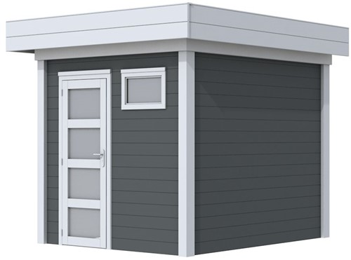 Blokhut Kuifmees, afm. 250 x 250 cm, plat dak, houtdikte 28 mm - basis en deur grijs, wand antraciet gespoten