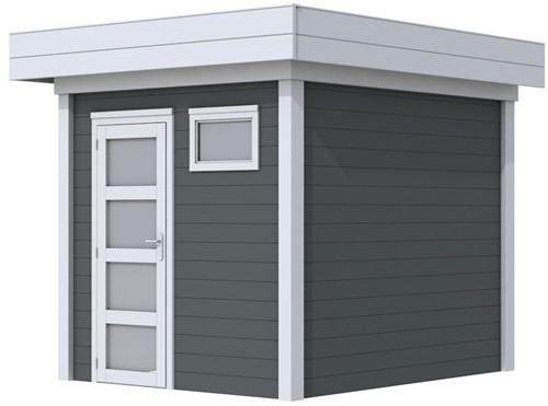 Blokhut Kuifmees, afm. 253 x 253 cm, plat dak, houtdikte 28 mm - basis en deur grijs, wand antraciet gespoten