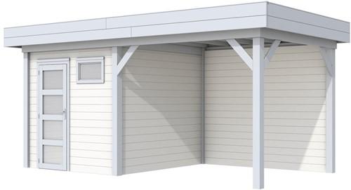 Blokhut Kuifmees met luifel 400, afm. 636 x 253 cm, plat dak, houtdikte 28 mm. - basis en deur grijs, wand wit gespoten