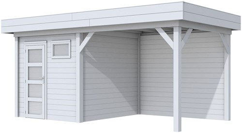 Blokhut Kuifmees met luifel 300, afm. 543 x 253 cm, plat dak, houtdikte 28 mm - volledig grijs gespoten