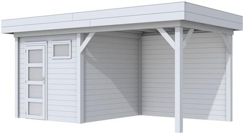 Blokhut Kuifmees met luifel 400, afm. 636 x 253 cm, plat dak, houtdikte 28 mm. - volledig grijs gespoten