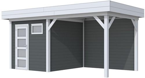 Blokhut Kuifmees met luifel 300, afm. 543 x 253 cm, plat dak, houtdikte 28 mm - basis en deur grijs, wand antraciet gespoten